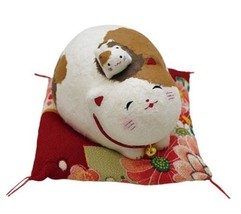 Kyoto Happy cat japanese paper Papier-mâché Shi... - $28.66