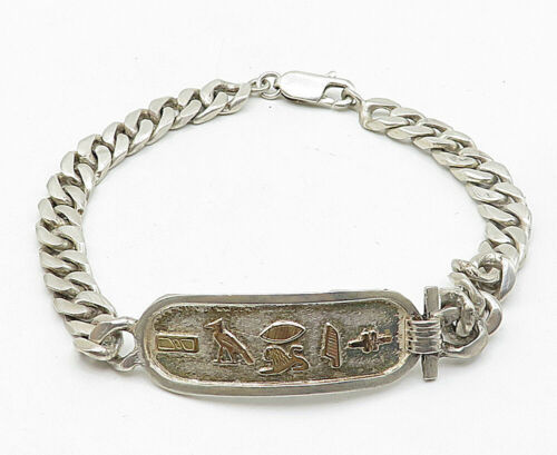 925 Silver & 18K Gold - Vintage Hieroglyphics Cartouche Chain Bracelet - B5090