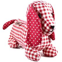 Delton Checkered Plaid Red Heart Dachshund Puppy Dog Love Door Stopper Doorstop image 4