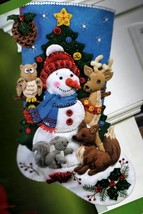 Bucilla Woodland Snowman Christmas Animals Deer Fox Owl Felt Stocking Kit 86505 - $54.95