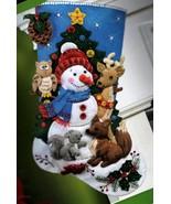 Bucilla Woodland Snowman Christmas Animals Deer Fox Owl Felt Stocking Ki... - $54.95