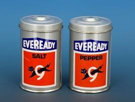 Vintage Novelty Salt & Pepper Shaker Set Hong Hong Metal EVEREADY Batteries image 1