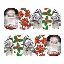 Nail Art Sticker Water Transfer Xmas Santa & His Reindeer (DS409) - $4.80