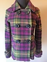 Aeropostale Purple Green Tartan Plaid Peacoat Wool Blend Jacket size S M... - $22.95