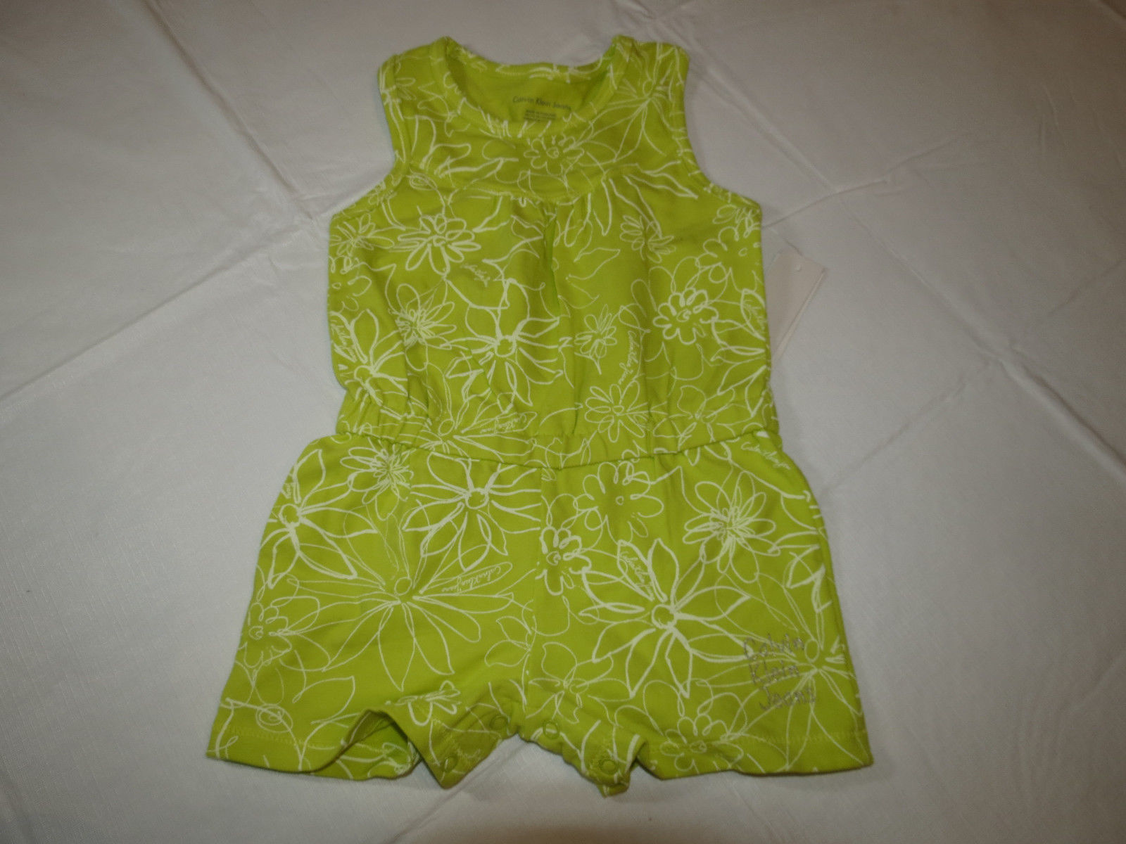 Primary image for Calvin Klein Jeans girls green white 6 youth kids romper 3811042-99 NWT *^