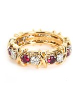 Tiffany & Co. Schlumberger Diamond Ruby Eternity Ring in 18K Yellow Gold... - $5,995.00