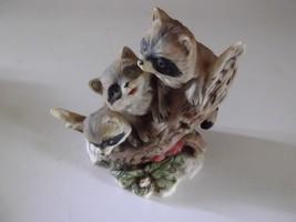 3 Raccoons on Branch Vintage Homco Figurine 6in Woodland Wildlife Cerami... - $13.86