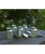 5 Farmhouse Galvanized Metal Milk Can Table Place Card Holders NWT FREE ... - $32.66