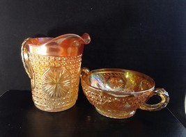 Imperial Glass Star Medallion Milk Pitcher & Double Handle Bowl Marigold - $26.00