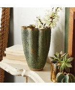 Tozai Green Coral Form Wavy Vase Artisan Ceramic - $148.49
