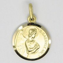 Pendentif Médaille or Jaune 750 18K, San Archange Gabriel, 15 MM Diamètre image 5