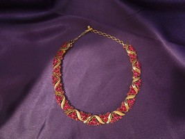 Vintage Trifari Gold Tone Cherry Red Clusters Necklace Estate Signed Designer - $133.65