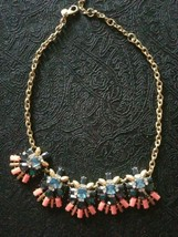 Beautiful blue and coral on gold chain statement necklace J CREW - $15.50