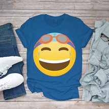 Swimming Funny Tee Swimmer Emoticon Laughing With Goggles Swim Unisex - $15.99+