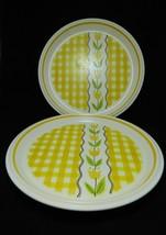 Maize Chop Plate Mikasa Country Gingham Yellow Tulips & Plaid Japan C7301 Set 2 - $46.39