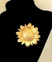 1970's Sunflower Brooch, Large Cast Metal Gold Tone Brooch, Signed NewPro, - $15.83