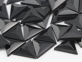 13mm Jet Black .JT Flat Back Triangle Acrylic Jewels High Quality Pro Gr... - $5.84