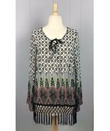 Monteau Multicolor Sheer Crochet Fringe Blouse Size M - $14.24