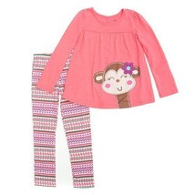 Baby Girls Size 18 Months Coral Colored Monkey Applique Leggings Set B639 - $15.99