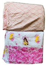 Disney Princess Twin Sheet Set Flat & Fitted Aurora Cinderella Belle Whi... - $23.16