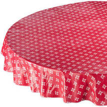 Heritage Vinyl Table Cover By Home-Style Kitchen-70ROUND-RED - $14.59