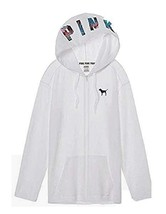 Victorias Secret Pink Long Hoodie Full Zip White Sweatshirt Tropical Pal... - $49.99