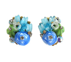 Vintage Unsigned Miriam Haskell Blue Green & Aqua Cluster Bead Earring C... - $48.00