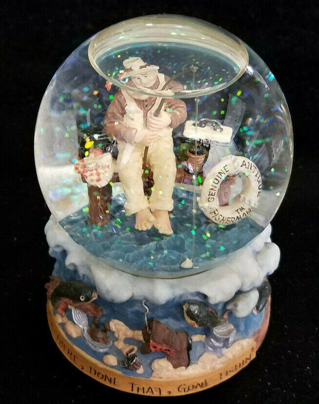 VINTAGE FISHERMAN SNOW GLOBE MUSIC BOX (CIRCA 1997)