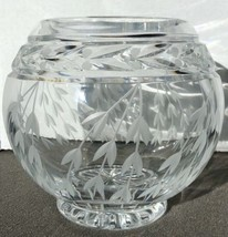 Crystal Bowl Etched Leaves & Cherry Blossoms Diamond Bottom FREE S&H - $35.06