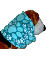 Turquoise Teal White Paw Prints Fleece Dog Snood by Howlin Hounds Size XL - $13.50