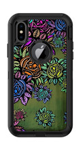 Skin Decal Wrap for Iphone X Otterbox Defender Case Abstract Flowers Flo... - $7.99