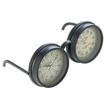 Accent Plus Table Desk Clock, Vintage Spectacles Small Round Metal Rustic Desk C - $34.99