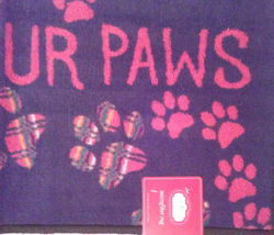 """Kitchen Rug """"Wipe Your Paws"""" Floor Mat Microfiber Black Red Pawprints 17x28 image 2"""