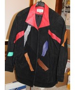 80'S VINTAGE LEATHER & SUEDE POP PATCHWORK EMBROIDERED WOMENS JACKET - MED - $85.00