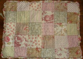 Pottery Barn 1 Standard Quilted Patchwork Floral Pillow Sham Ruffled Edge - $24.72