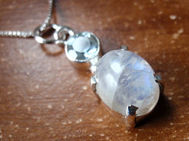 Faceted Blue Topaz 4-Pronged Rainbow Moonstone Pendant 925 Sterling Silver d29a - $17.77