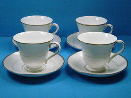 4 Waterford China Lismore Gold Footed Cup & Saucer Bundle of 4 sets. - $47.53