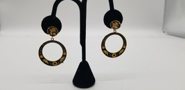 Vintage Gold Tone Cloisonné Hoop Earrings With Floral & Bird Design Cut EUC - $15.44