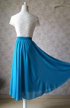 Women Blue Chiffon Skirt Full Circle Chiffon Midi Skirt Chiffon Beach Skirt image 4