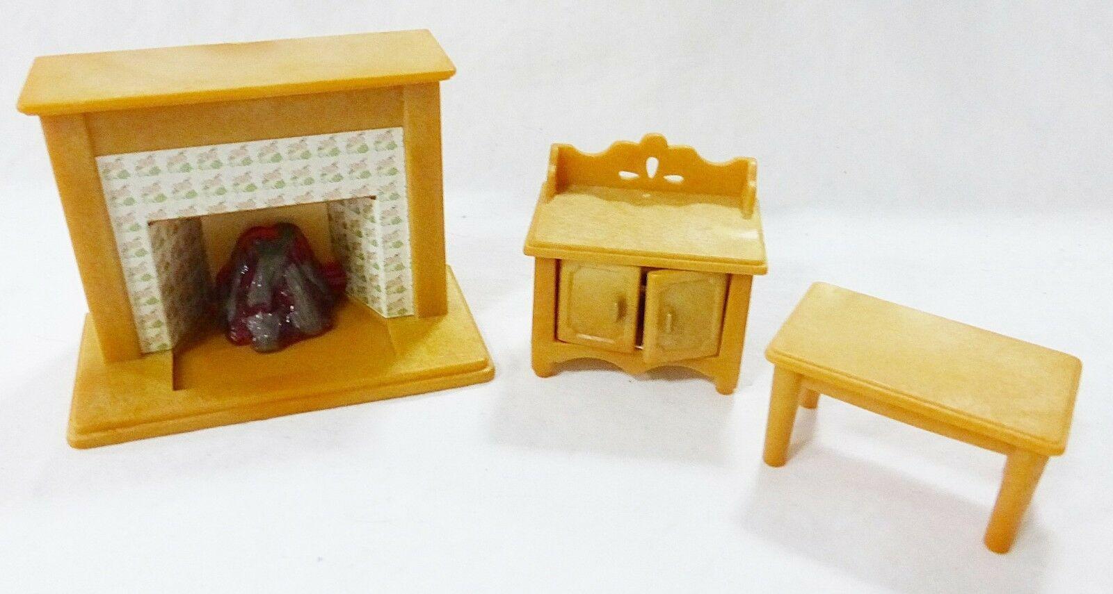 Vintage Epoch Casa Delle Bambole Mobili Miniature Soggiorno Camino Armadietto