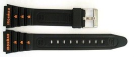 2 Pack Timex 19MM Black Ironman Triathlon Vintage Rubber Sport Watch Band Strap - $12.38