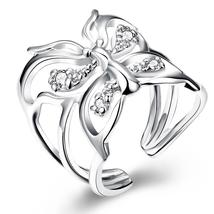 Japanese Style Sliver Plated Ring, Butterfly Crystal Open Band Ring - $8.99
