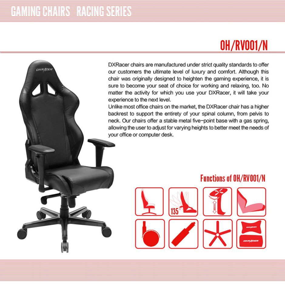 DXRacer OH/RV001/N High-Back Racing Style Office Chair Vinyl+PU(Black)