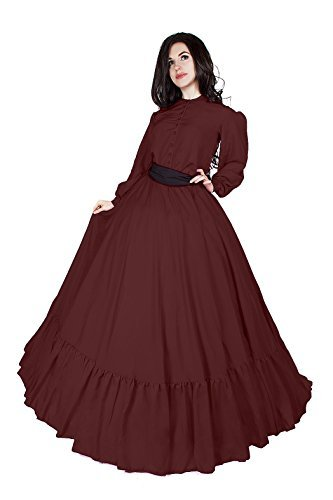 Civil War Reenactment Victorian Garibaldi 3 Piece Dress (2XL/3XL, Burgundy)