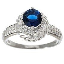 Dainty Triple Tier Pave+ Blue Sapphire Halo Sterling Silver CZ Bridal Ring - $49.99