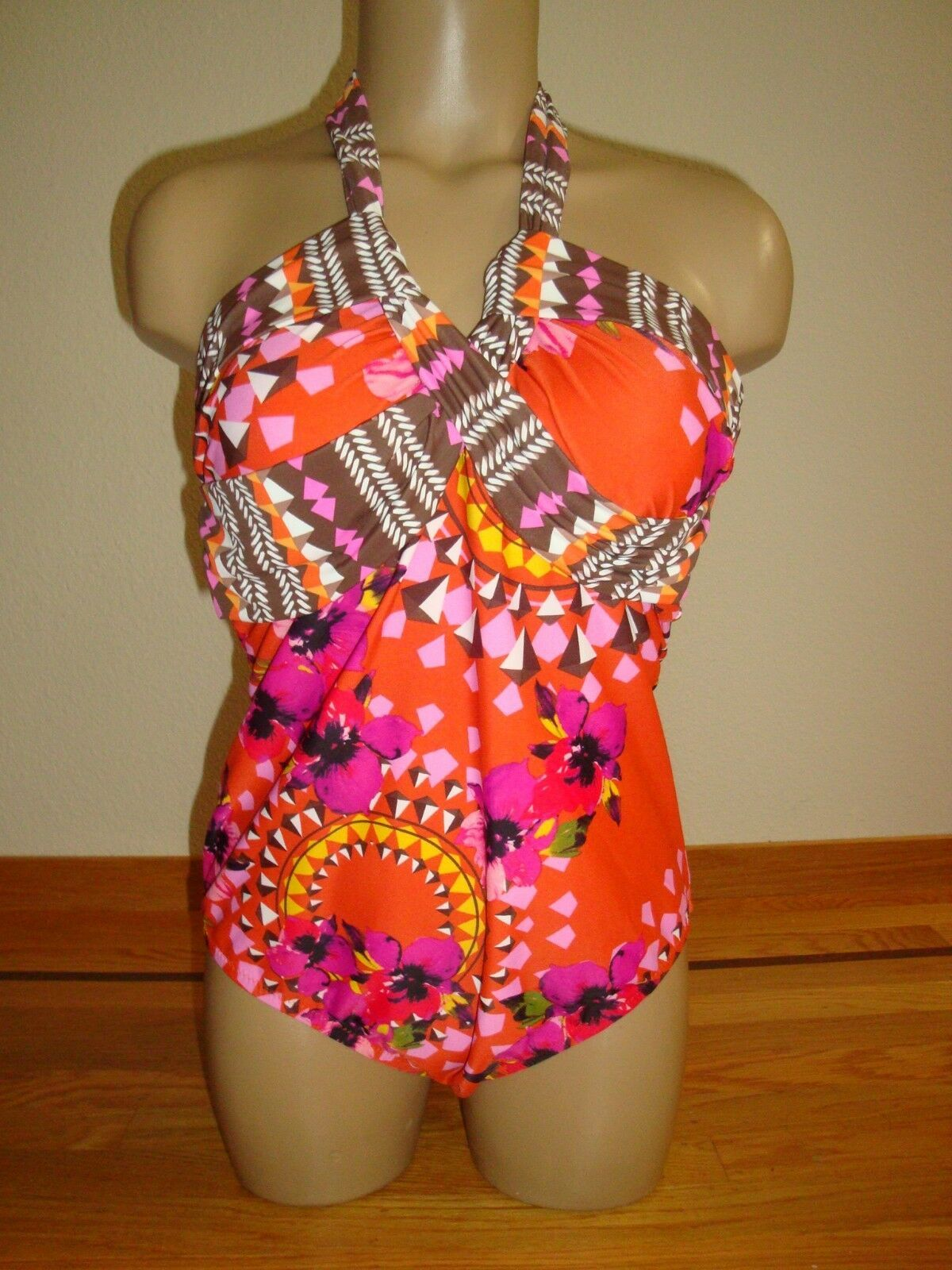 New Leilani Lux Women's 1 Pc Swimsuit V-Neck Halter Atomic Orange Tropical Sz 10