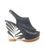8.5 - MATIKO Black Leather Platform Patterned Wedge Unique Sandals Heels... - $32.00