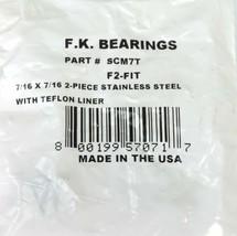 NEW F.K. BEARINGS P/N: SCM7T, F2-FIT 7/16 X 7/16 2-PIECE STAINLESS STEEL