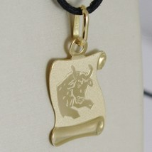 18K YELLOW GOLD ZODIAC SIGN MEDAL, TAURUS, PARCHMENT ENGRAVABLE MADE IN ITALY image 2
