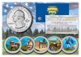 2016 America The Beautiful COLORIZED Quarters U.S. Parks 5-Coin Set w/Ca... - $12.82